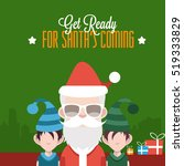 santa with gifts and elves | Shutterstock .eps vector #519333829