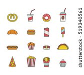 fast food. set of minimalistic... | Shutterstock .eps vector #519340561