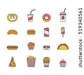 fast food. set of minimalistic... | Shutterstock .eps vector #519340561