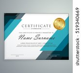 stylish certificate of... | Shutterstock .eps vector #519340669