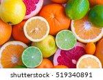 citrus fruits  orange  lemon ... | Shutterstock . vector #519340891
