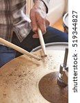 drumsticks on metal cymbal | Shutterstock . vector #519344827