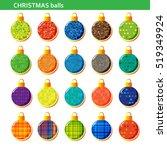 colorful christmas balls set... | Shutterstock . vector #519349924