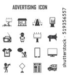 advertising icon set | Shutterstock .eps vector #519356557