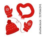 a set of knitted winter wear... | Shutterstock .eps vector #519366241
