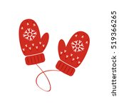 red knitted mittens. flat... | Shutterstock .eps vector #519366265