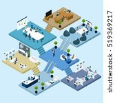isometric icons of multistoried ... | Shutterstock . vector #519369217