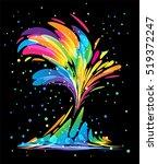 multicolored splash elements on ... | Shutterstock .eps vector #519372247