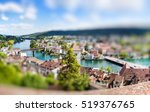 Small photo of Panoramic view of Swiss town Schaffhausen. River Rhine. Europe. Miniature tilt shift lens effect.