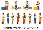 baker offering different pastry.... | Shutterstock .eps vector #519379615