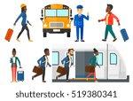 female passenger walkingwith a... | Shutterstock .eps vector #519380341