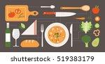cooking healthy vegan food on... | Shutterstock .eps vector #519383179