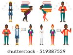 tired student carrying a heavy... | Shutterstock .eps vector #519387529