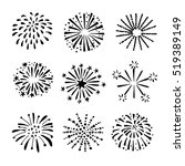set of hand drawn fireworks and ... | Shutterstock .eps vector #519389149