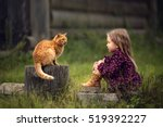 little girl is playing with a... | Shutterstock . vector #519392227