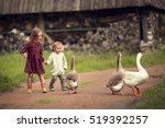 little bother and sister being... | Shutterstock . vector #519392257