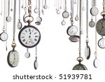 many pocket old style clocks on ...