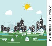 eco city. flat design vector... | Shutterstock .eps vector #519400909