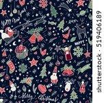 sketchy doodle winter christmas ... | Shutterstock .eps vector #519406189