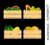 vector crate with fresh fruits. ... | Shutterstock .eps vector #519408577