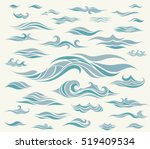 vector waves set of elements... | Shutterstock .eps vector #519409534