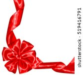 card with red satin gift bow... | Shutterstock .eps vector #519416791
