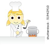 cartoon girl chef cooking | Shutterstock .eps vector #51942910
