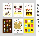 set of 6 cute creative cards... | Shutterstock .eps vector #519430231