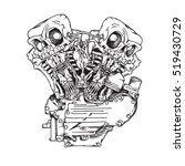 knuckle twin motorcycle engine. ... | Shutterstock .eps vector #519430729