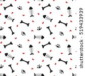 Stock vector cute black white red seamless vector pattern background illustration with bones hearts paws and 519433939