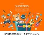 shopping concept in fiat design ... | Shutterstock .eps vector #519443677