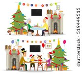 holiday dinner with the family. ...   Shutterstock .eps vector #519449515
