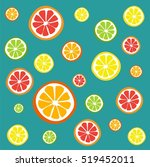 collection of citrus slices  ... | Shutterstock .eps vector #519452011