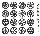 wheel disks or rims icon set.... | Shutterstock .eps vector #519452374