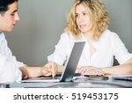 blonde woman talking to her... | Shutterstock . vector #519453175