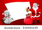smiling snowman and santa... | Shutterstock .eps vector #519454159