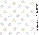 Cute Colorful Paws Seamless...