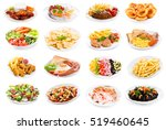 set of various plates of food... | Shutterstock . vector #519460645