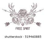 hand drawn boho style design... | Shutterstock .eps vector #519460885