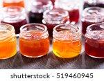 various jars of fruit jam on...   Shutterstock . vector #519460945