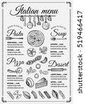 Italian Menu Placemat Food...