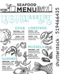seafood menu placemat food... | Shutterstock .eps vector #519466435
