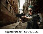 Man With Gun Shouting