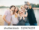 friends making selfie by the... | Shutterstock . vector #519474259