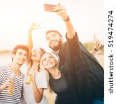 friends making selfie by the... | Shutterstock . vector #519474274