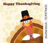 pilgrim turkey bird cartoon... | Shutterstock .eps vector #519474631
