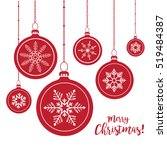 set of red christmas balls... | Shutterstock .eps vector #519484387
