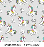 seamless pattern with unicorns... | Shutterstock .eps vector #519486829