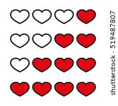 rating with flat hearts  icons... | Shutterstock .eps vector #519487807