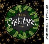 christmas tree branches border. ... | Shutterstock .eps vector #519488185